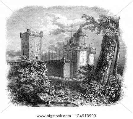 View of part of the castle Alencon, after a drawing of the eighteenth century, vintage engraved illustration. Magasin Pittoresque 1847.