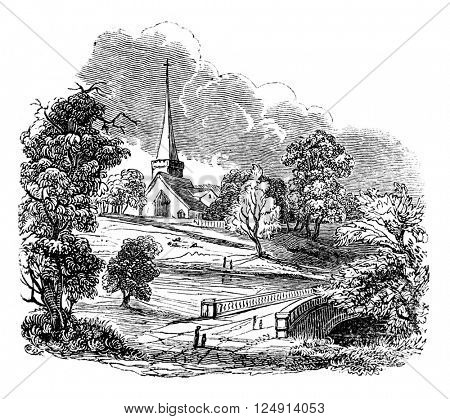 Stored church, village or remained the poet Gray, vintage engraved illustration. Colorful History of England, 1837.