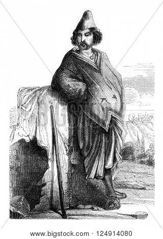 Chilean miner, Valparaiso, vintage engraved illustration. Magasin Pittoresque 1847.