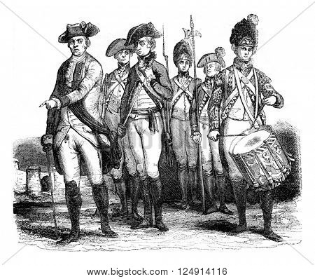 Military costumes, Infantry, vintage engraved illustration. Colorful History of England, 1837.