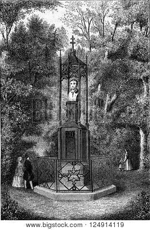 Hebel monument to the castle garden in Karlsruhe, vintage engraved illustration. Magasin Pittoresque 1847.
