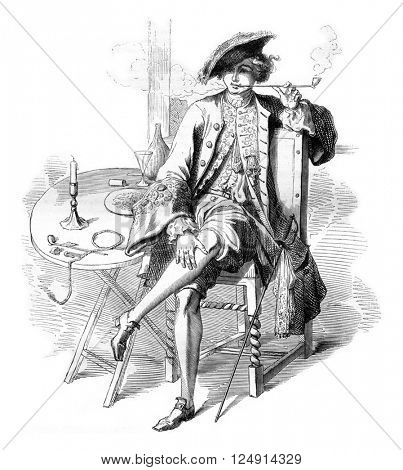 Seventeenth century, On after a print of the collection entitled, Moral of Guerard, vintage engraved illustration. Magasin Pittoresque 1847.