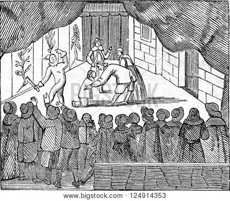 Theater inside to the reign of Cromwell, vintage engraved illustration. Colorful History of England, 1837.