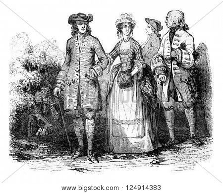 Costumes from 1740 to 1750, Gentlemen, vintage engraved illustration. Colorful History of England, 1837.