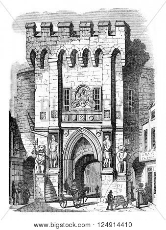 Gate of Southampton, vintage engraved illustration. Colorful History of England, 1837.