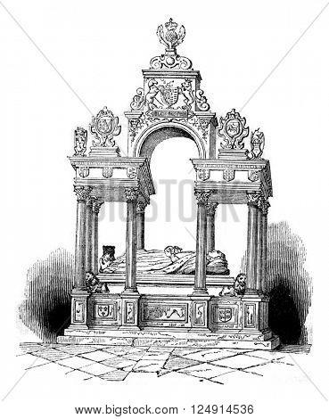 Tomb of Elizabeth, at Westminster, vintage engraved illustration. Colorful History of England, 1837.