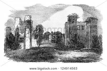 Kenilworth castle ruins, belonging to Leicester, vintage engraved illustration. Colorful History of England, 1837.
