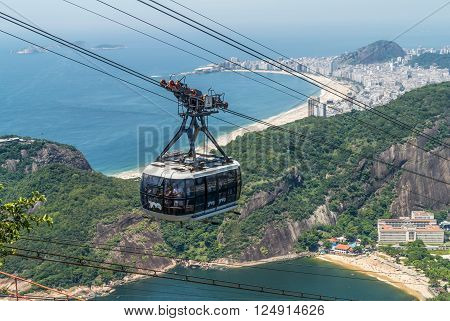 Rio de Janeiro, Brazil - December 21, 2012: Sugarloaf cable car in Rio de Janeiro, Brazil.