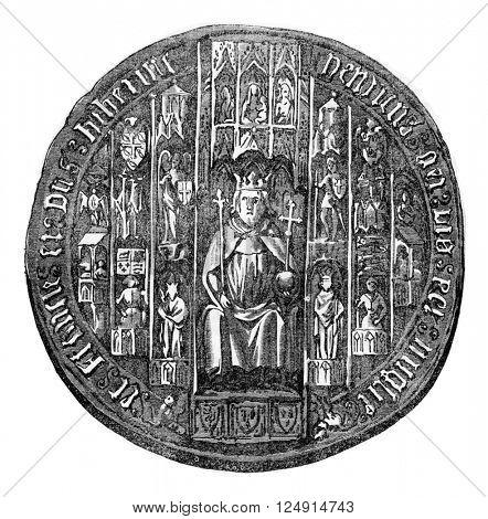 Seal of Henry V, vintage engraved illustration. Colorful History of England, 1837.