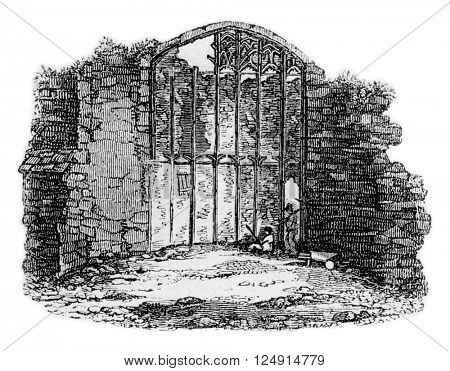 Ruins of a Gothic window of Savoy Palace, vintage engraved illustration. Colorful History of England, 1837.