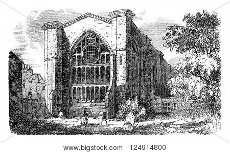 View of part of the church of St. Catherine hospital in London, raised by Edward III, vintage engraved illustration. Colorful History of England, 1837.