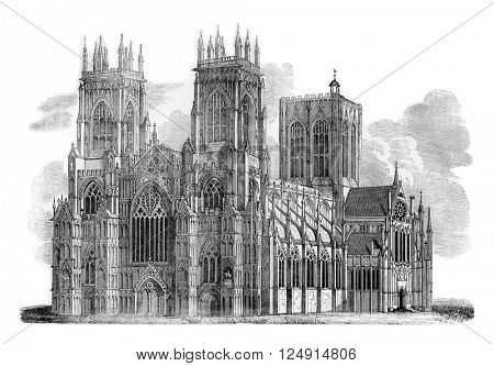 York Minster, vintage engraved illustration. Colorful History of England, 1837.