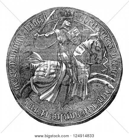 Seal against Henry V, vintage engraved illustration. Colorful History of England, 1837.