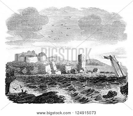 Turnberry Castle in Ayrshire, vintage engraved illustration. Colorful History of England, 1837.