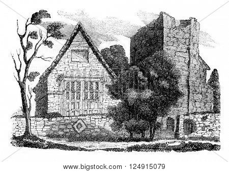 View of the Chapel of Jane Grey and she dwelt round, vintage engraved illustration. Colorful History of England, 1837.