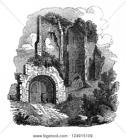 Pevensey Castle Ruins, Kent, vintage engraved illustration. Colorful History of England, 1837.
