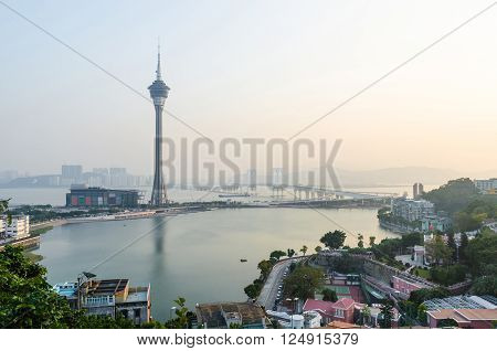Macau tower and sai van bridge in evening at macau china
