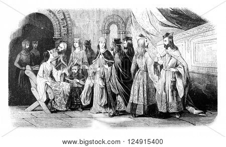 Costumes of the nobility during the reign of John Lackland, vintage engraved illustration. Colorful History of England, 1837.