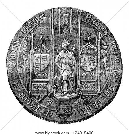 Seal of Richard III, vintage engraved illustration. Colorful History of England, 1837.