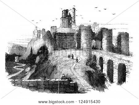 Ruins of Corfe Castle, Earl of Dorset, vintage engraved illustration. Colorful History of England, 1837.