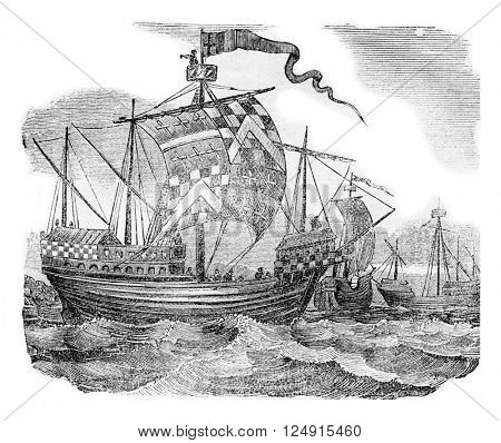 British ships during the reign of Edward IV, vintage engraved illustration. Colorful History of England, 1837.