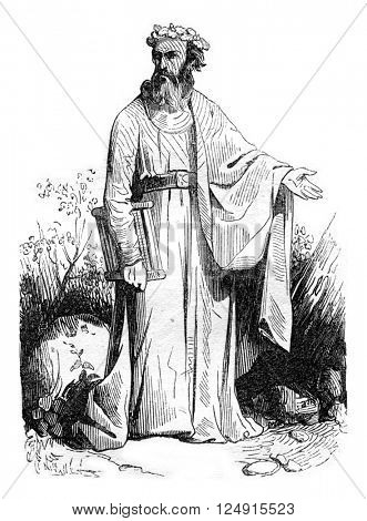 Druid after Meyrick, vintage engraved illustration. Colorful History of England, 1837.