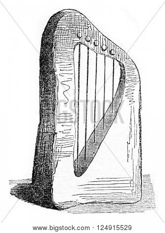 Saxon harp, vintage engraved illustration. Colorful History of England, 1837.