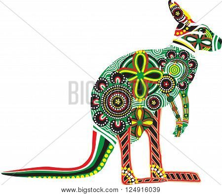 silhouette of kangaroo with colorful patterns of Australian Aborigines