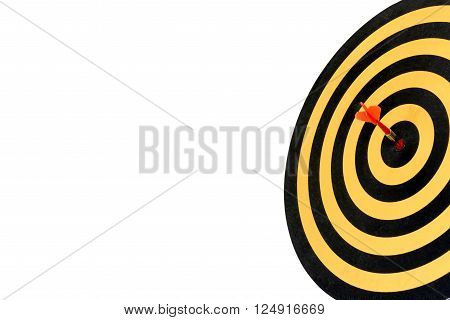 dart target with arrow on bullseye with copy space, Goal target success business investment financial strategy concept, abstract background