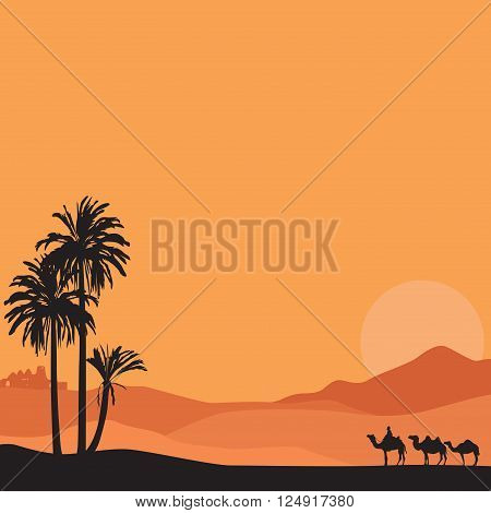 Summer vacation African tour. Background with desert.
