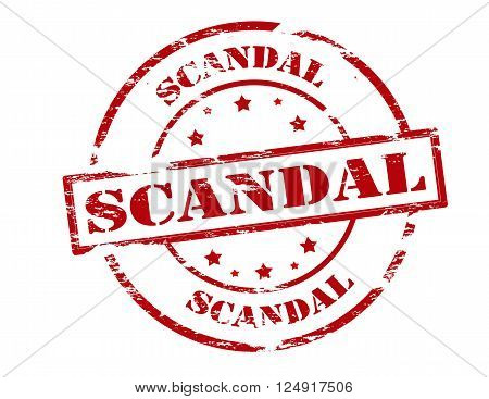 Rubber stamp with word scandal inside vector illustration