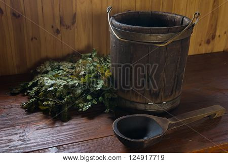 Accessories for steam bath on a wooden surface