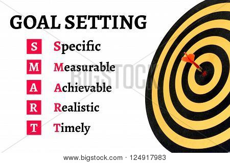 Words goal setting and smart with dart target on bullseye of dartboard Goal target success business investment financial strategy concept abstract background