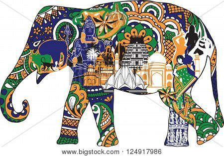 silhouette of an elephant with a thumbnail symbolizing India