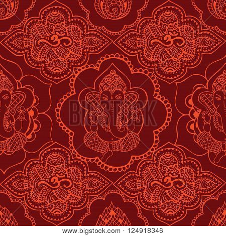 Seamless pattern with Indian saffron-colored patterns. Hand drawn Ganesh and Om sign in the style mihendi.