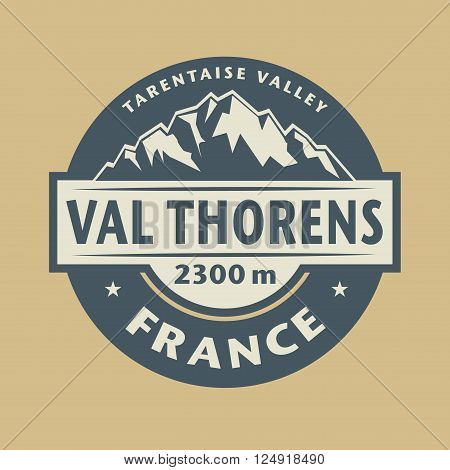 Abstract stamp with the name of town Val Thorens in France, vector illustration