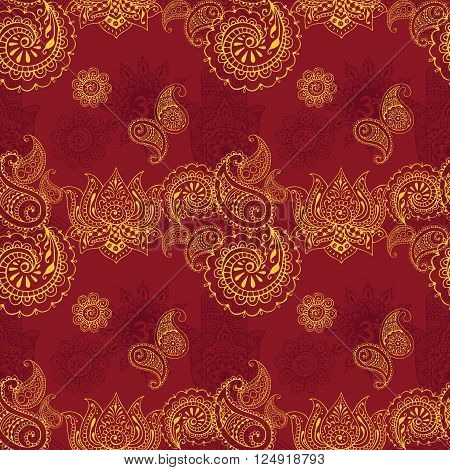 seamless background with Indian designs in the style of mehendi
