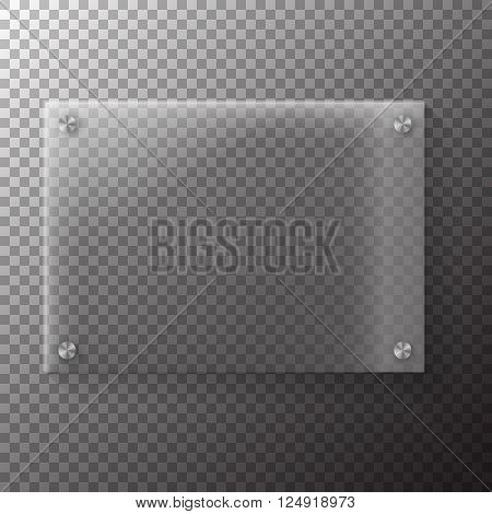 Illustration of Realistic Vector Glass Plate Template Icon. EPS10 Horisontal Vector Plastic Frame Isolated on Transparent PS Style Background