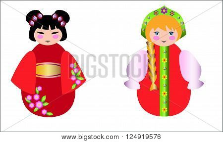 Russian dolls and the Chinese doll together on white