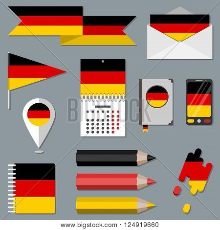 Collection of stationety icons with flag elements. National sign set. Federal Republic of Germany. FRG