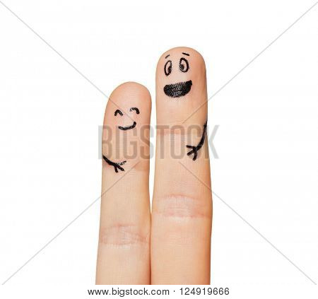 gesture, family, couple, people and body parts concept - close up of two fingers with smiley faces