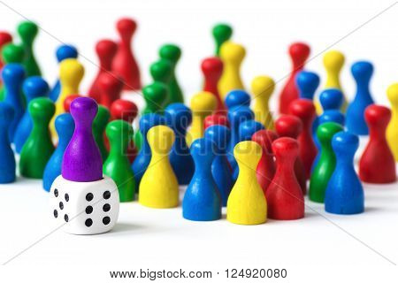 Some colorfull playing pawns on white background