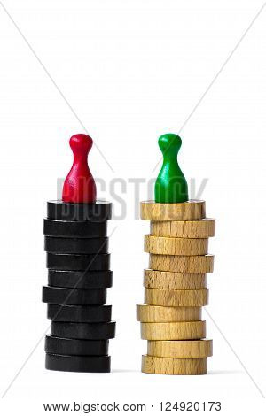 Two playing pawns separately standing top of  a black and a white pillar. Isolated on white background.