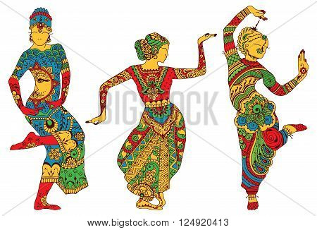 Three silhouettes of dancing women painted in the style of mehendi
