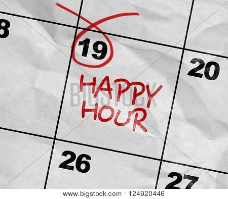 Concept image of a Calendar with the text: Happy Hour