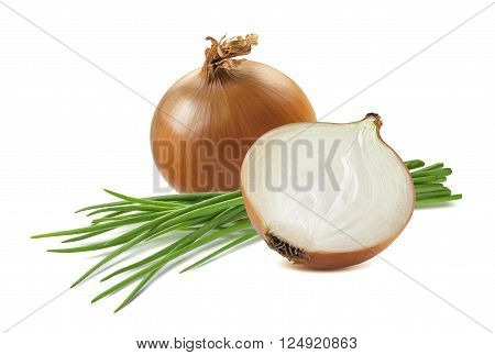 Yellow onion half green scallion 6 isolated on white background as package design element