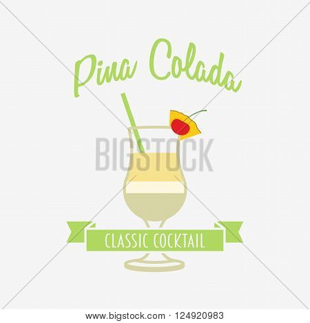 Cocktail Logo, Badge Or Label Design Template With Pina Colada In Flat Design Style. Can Be Used For