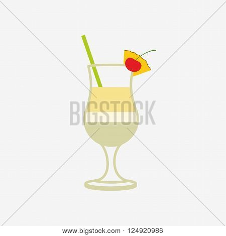 pina colada cocktail. Vector icon design template