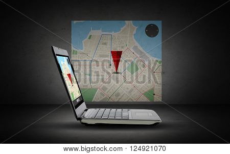 technology, navigation, location and advertisement concept - laptop computer with gps navigator map on screen