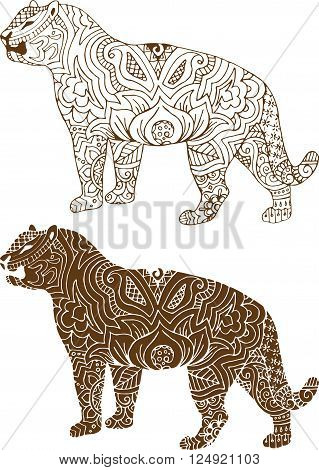 silhouette of a tiger in the Indian mehendi patterns